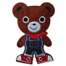 DENIM TEDDY BOY MOTIF IRON ON EMBROIDERED PATCH APPLIQUE